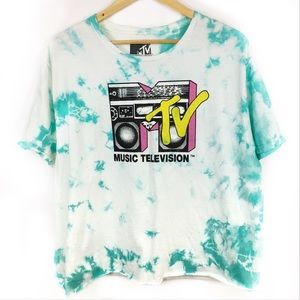 MTV| NWOT Graphic tie dye cropped tee XL
